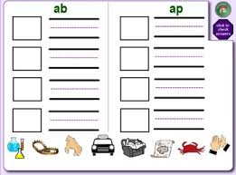 word families smartboard with matching cut paste u0026 spell worksheets