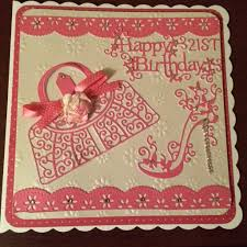 21st birthday card using free border dies from tattered lace