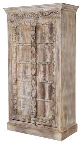 White Wardrobe Cabinet Rustic Antique White Reclaimed Wood 68