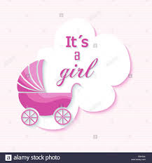 Invitation Card Baby Shower Baby Shower Invitation Card With Pink Stroller Design Stock