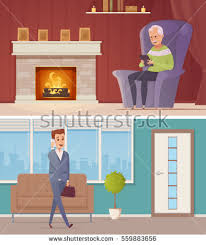 Home Interior Vector by Nursing Old People Home Tea Newspaper Stock Vector 542926777