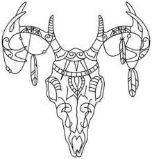 tribal deer skull threads unique and awesome embroidery