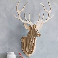 wooden stags wall mount glass dishes for dairy