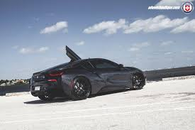 modified bmw i8 black hre wheels and paint scheme give this bmw i8 a stealthy
