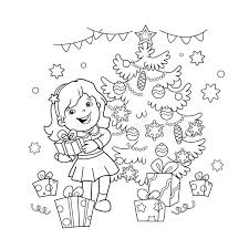 new year book for kids coloring page outline of girl with gift at christmas tree