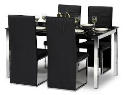 Black Glass Dining Table And 4 Chairs Bowen Tempo 150cm Black Glass Dining Table And 4 Black Faux