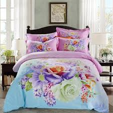 King Size Brushed Cotton Duvet Covers Aliexpress Com Buy Bright Colored Flowers Daisy Rose Bedding Set