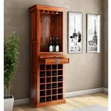 lodi golden diamonds brass inlay mango wood tall wine rack cabinet