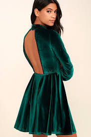velvet dress lovely forest green dress backless dress skater dress velvet