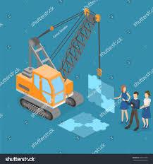 concept work truck isometric vector illustration 3d teamwork build stock vector
