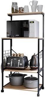 kitchen storage cupboard on wheels bestier kitchen baker s rack utility storage shelf microwave stand cart on wheels with side hooks kitchen organizer rack 4 tier shelves adjustable