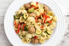 pasta with turkey meatballs and roasted vegetables recipe
