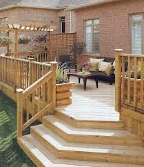 wooden deck with lattice privacy partition likes stair shape one