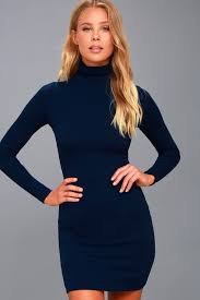 blue turtleneck dress long sleeve dress bodycon dress