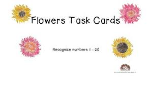 Identify Flowers - flowers task cards identify draw numbers 1 20 by learning from fun
