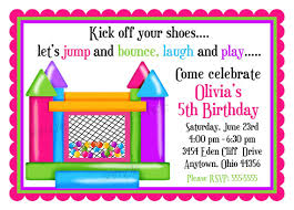 kids birthday party invitation card design sample featuring bounce