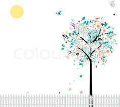 floral tree beautiful for your design birds on fence stock