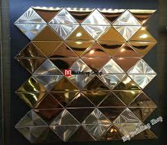 3d metal tile gold silver metallic mosaic kitchen wall tile