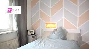 Tapeten Beispiele Schlafzimmer Wand Streichen Bunt Im Chevron Muster Diy Eule Youtube