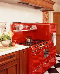 cool retro kitchen appliances featuring green wall paint color and