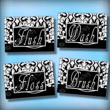 black and white damask bathroom word art wall by collagebycollins