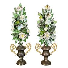 altar flowers pair of 19th c italian tole altar flowers in urns for sale at 1stdibs