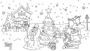 Coloriages noël  père noël sapin bonhomme de neige  Coloriage