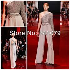jumpsuits for evening wear ph03425 silver assymetrical jumpsuit with fully embroidered bodice