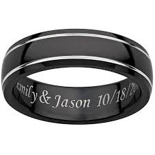 black titanium rings personalized men s engraved black titanium grooved band walmart