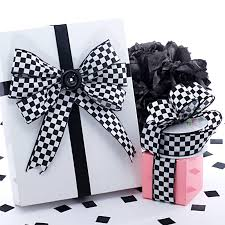 checkered ribbon checkered print satin ribbons