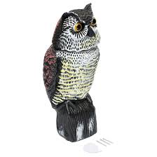 large realistic owl decoy rotating head weed pest control crow