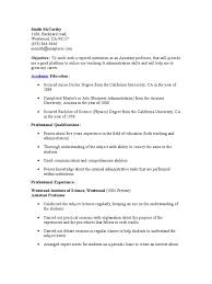 Resume For Mca Student Assistant Professor Resume Academic Degree Professor