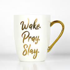wake pray slay christian coffee mug doses of grace