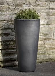 aluan tall round planter in graphite glazed and ceramic planters