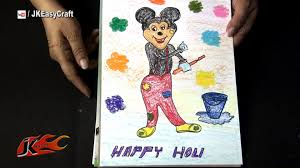 draw mickey mouse playing holi project for kids jk easy