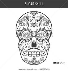 Day Of The Dead White Day Dead Sugar Skull Vector Mexican Stock Vector 302750459