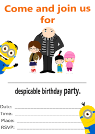 recommendation despicable me party invitation wording birthday