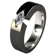 Titanium Wedding Rings by Isis Solitaire Gem Black Solitaire Gem Engagement Rings