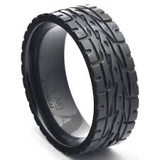 black wedding band men s wedding bands eagle f1 car tire tread ring black