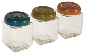 glass jars with metal button lids set of 3 rustic kitchen