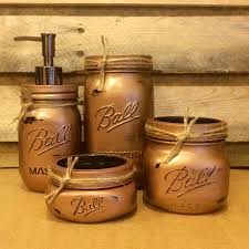 Mason Jar Bathroom Storage by Mason Jar Bathroom Set Hammered Copper Bathroom Set Rustic