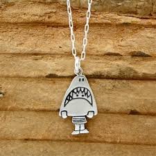handmade silver charm necklace images Sterling silver shark necklace jpg