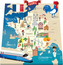 Lourdes France Map by Cartoon Map Of France Stock Vector Art 506816234 Istock
