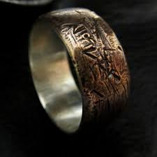 mens rustic wedding bands possible band for him mens textured copper silver sizes 8 12