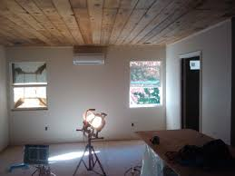 ideas wooden ceiling design ideas with ductless heat pump also
