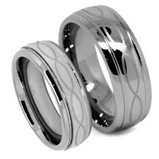 his and wedding sets matching tungsten wedding band set infinity ring set for his and