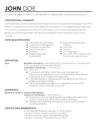 Example Resume For Internship by Professional Civil Engineer Intern Templates To Showcase Your