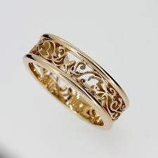 filigree wedding band wide filigree ring made from yellow gold men wedding ring filigree