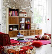 Boho Chic Living Room Ideas by Casual Boho Chic Living Room Design With Vibrant Sofa And Rustic