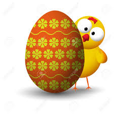 small chicken yellow small chicken behind easter egg shadowed royalty free